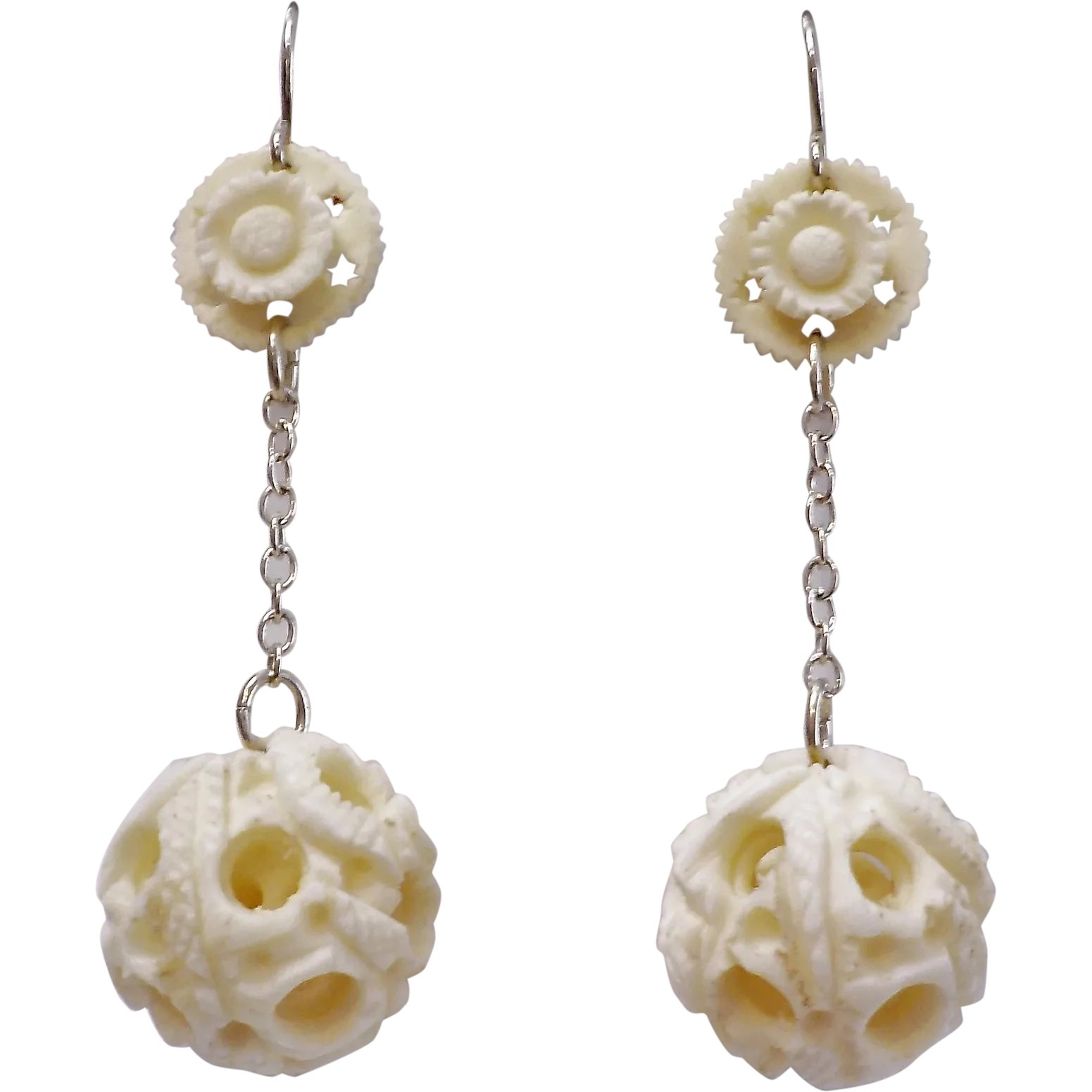 Vintage Carved Bone Puzzle Ball Sterling Silver Earrings Fine Finds Ruby Lane