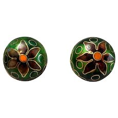 Vintage 1900's Chinese Export Cloisonne Earrings