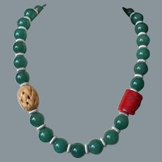 Red Coral Aventurine Carved Bone Necklace Sterling Clasp