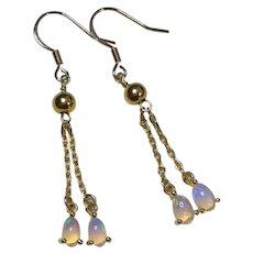 Genuine White Opal Gold Vermeil Earrings