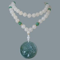 """Chinese Carved Green White Jadeite Pendant Necklace 34"""" Length"""