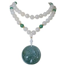 "Chinese Carved Green White Jadeite Pendant Necklace 34"" Length"