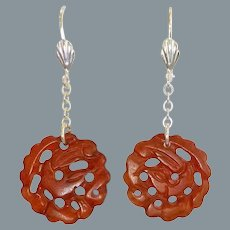 Chinese Hand Carved Carnelain Sterling Earrings