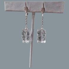 Vintage Rock Quartz Crystal Carved Owl Sterling Silver Earrings