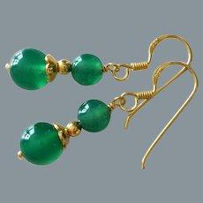 Translucent Emerald Green Chrysoprase Gold Vermeil Earrings