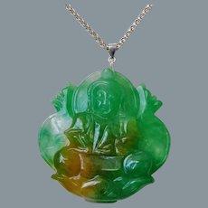 Vintage Apple Green Golden Translucent Jadeite Jade Buddha Pendant