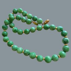 Apple Green 12 mm Jadeite Jade Necklace Gold Vermeil Filigree Clasp