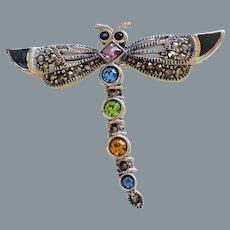 Vintage Gemstone Marcasite Sterling Enamel Dragonfly Brooch Pin