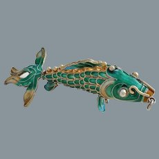 Chinese Export 1950's Gold Vermeil Enamel Articulated Fish Pendant