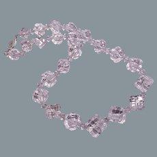 Art Deco Carved Rock Quartz Crystal Necklace