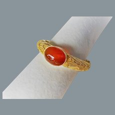 Antique Chinese Carnelian Gold Vermeil Bracelet