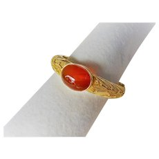 Antique Chinese Carnelian Gold Vermeil Bracelet