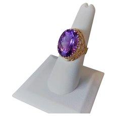 Vintage 20 Carat Purple Amethyst 10k Yellow Gold Ring Size 7