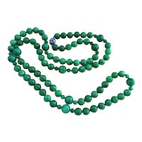 "Emerald Green Jadeite Jade Necklace 42"" Long Cloisonne Clasp"