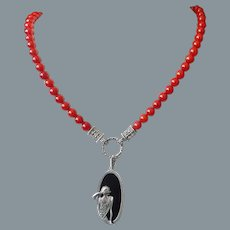 Red Coral Marcasite Onyx Art Deco Pendant Necklace
