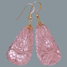 Chinese Art Deco 1920's Carved Rose Quartz Gold Vermeil Earrings