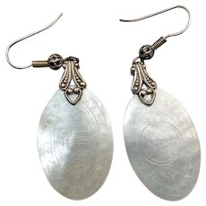 Antique Chinese Mother Of Pearl Gaming Token Earrings