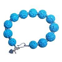 """Carved Turquoise Howlite Shou  Design Sterling Bracelet 7.5 """" Length"""