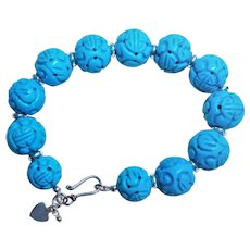 "Carved Turquoise Howlite Shou  Design Sterling Bracelet 7.5 "" Length"