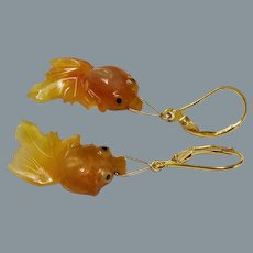 Chinese Carved Carnelian Goldfish Earrings Gold Vermeil Lever Backs