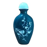 1960's Chinese Peking Glass Cherry Blossom Bamboo Snuff Bottle