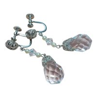 Vintage Art Deco Faceted Rock Quartz Crystal Earrings