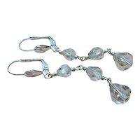 Vintage Rock Quartz Crystal Sterling Silver Earrings
