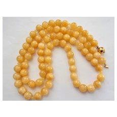 "Chinese 12mm Yellow Jadeite Jade 38"" Necklace Vermeil Clasp"