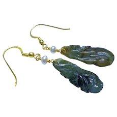 Chinese Art Deco Hand Carved Jadeite Jade Earrings