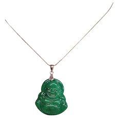 Chinese Export Translucent Imperial Green Jadeite Jade Buddha Pendant