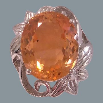 14.40 Ct. Morganite Sterling Silver Ring Size 7.75
