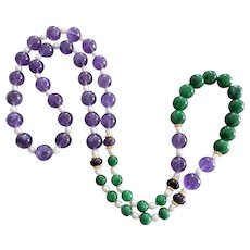 Emerald Green Jadeite Amethyst Freshwater Pearl Necklace 34""