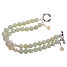 Green Jadeite Rose Quartz Sterling Silver Two Strand Bracelet