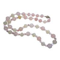 Chinese Art Deco Shou Rose Quartz,  Jade,  Pink Cat's Eye Necklace
