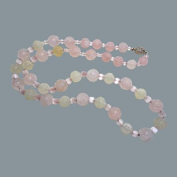 "1920's Chinese Carved Shou Rose Quartz,  Jade,  Pink Cat's Eye Necklace 29"" Long"