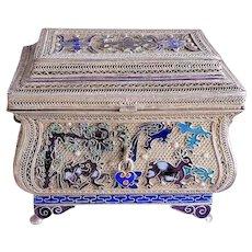 Antique Chinese Qing Silver Gilt Cloisonne Enamel Casket & Lid