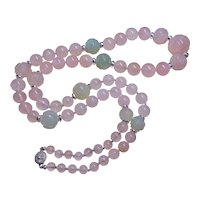 "Chinese Art Deco Carved Shou Rose Quartz, Jade, Necklace 30"" Long"