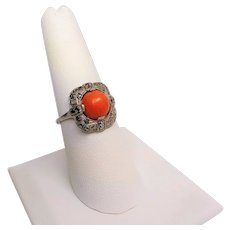 Vintage Art Deco Red Coral Marcasite 925 Sterling Silver Size 7.5