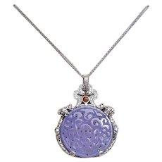 Vintage 1900's Lavender Jadeite Sterling Dragon Pendant Necklace