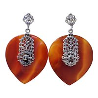 1920's Art Deco Carnelian Sterling Silver Marcasite Earrings