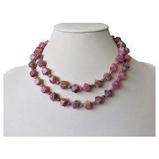 "Vintage Rhodonite Necklace 32"" Length"