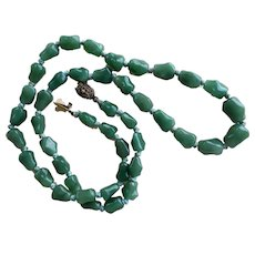 Chinese 1930's Art Deco Green Aventurine Necklace Filigree Sterling Clasp