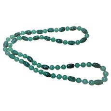 "Vintage Chinese Shou Imperial Green Aventurine Necklace 34"" Length"