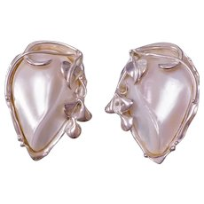 Cultured Baroque Pearl Sterling Silver Clip On Earrings