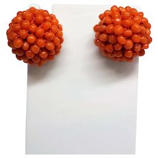Vintage 1940's-50's Italian Giovanni Apa Bright Red Coral Earrings