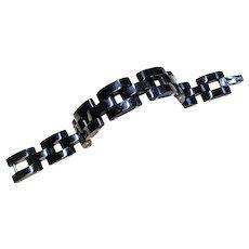 """Chinese Black Jadeite Sterling Silver Link Bracelet 8"""" Length"""