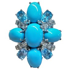 Sleeping Beauty Turquoise Blue Topaz Cubic Zirconia Sterling Ring