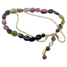 "Italian Tourmaline Gold Vermeil Chain Bracelet 7.5 "" Length"