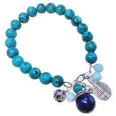Turquoise Lapis Lazuli Sterling Charm Bracelet