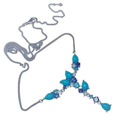 4.32 Ct. Turquoise Topaz Iolite Sterling Silver Y Necklace